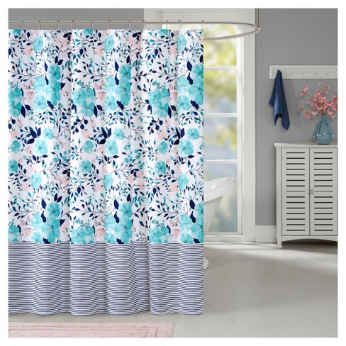 Floral Shower Curtain Blue Target