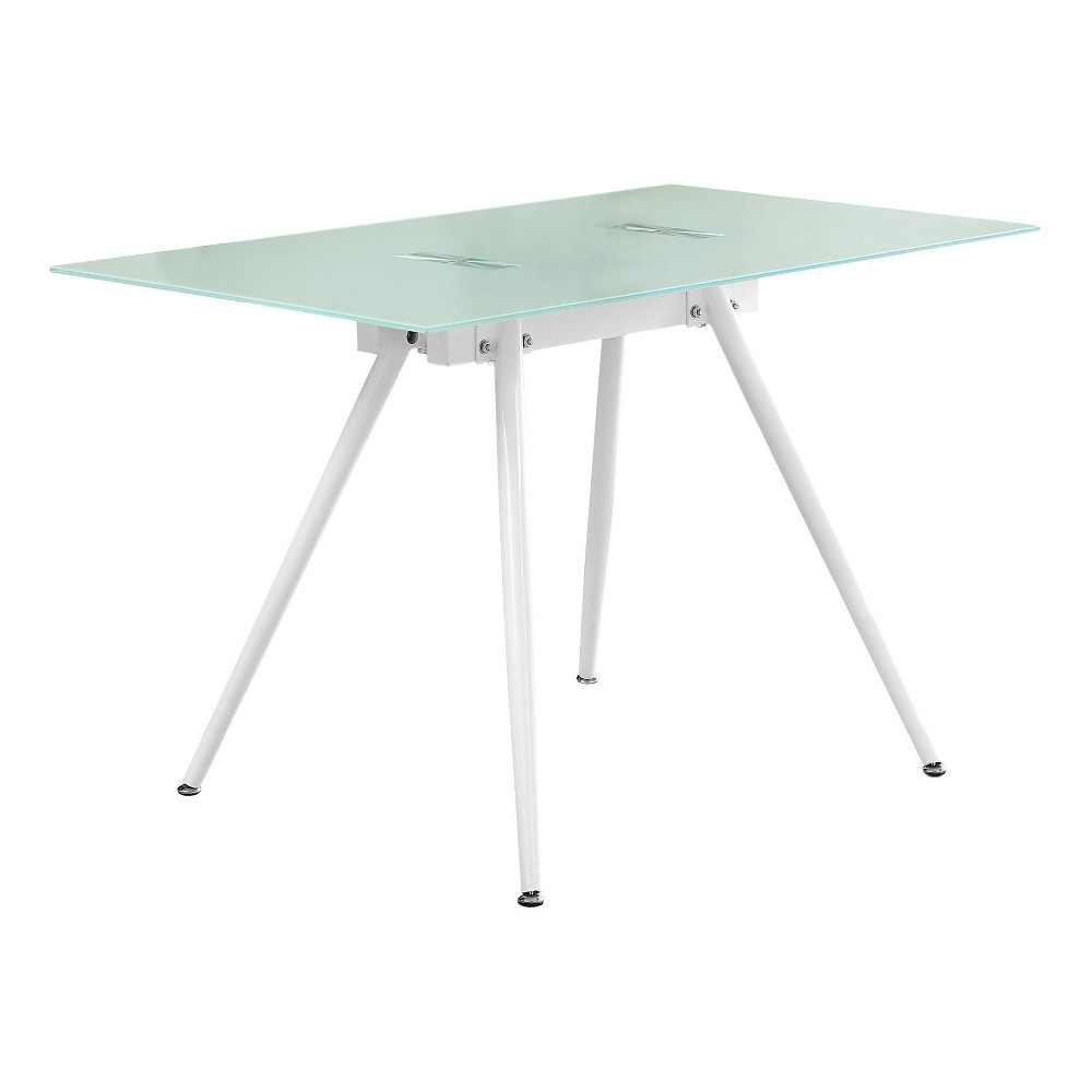 Dining Table - White & Tempered Glass - Every Room