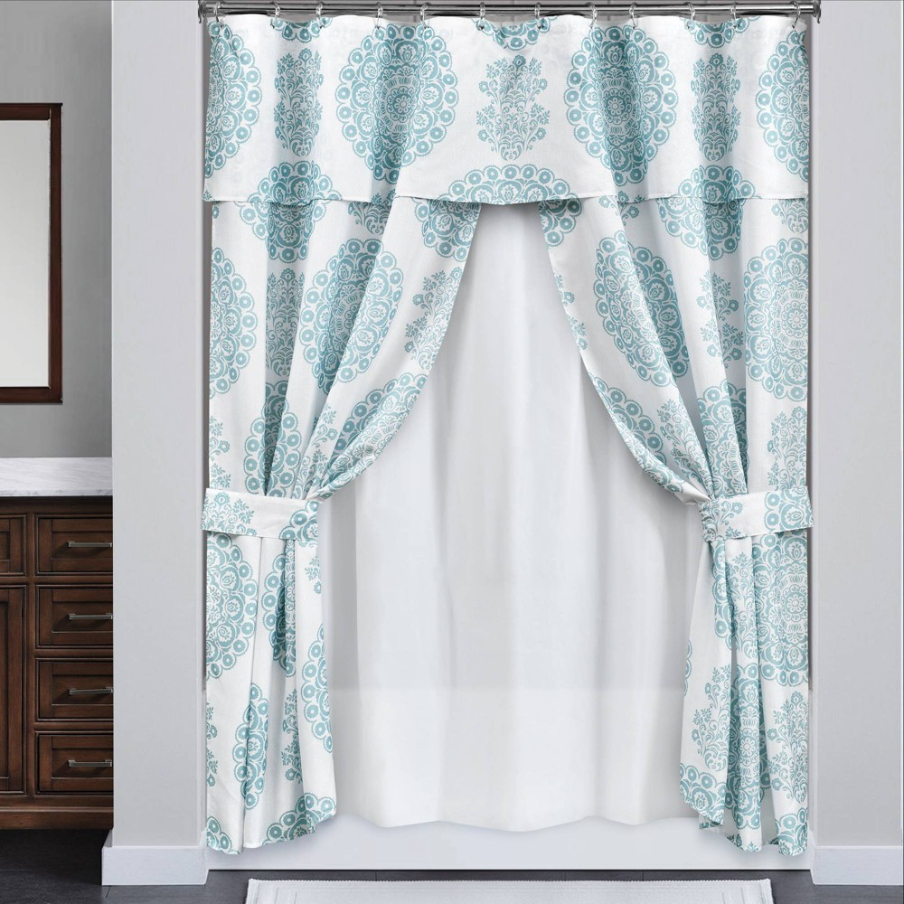 Image of 16pc Evelyn Medallion Double Swag Shower Curtain with Peva Lining and Rings Set Blue - Lush Decor