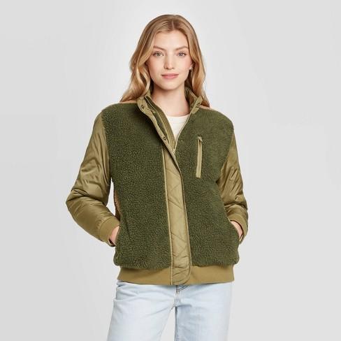 Women's Utility Sherpa Jacket - Universal Thread™ Green - image 1 of 3