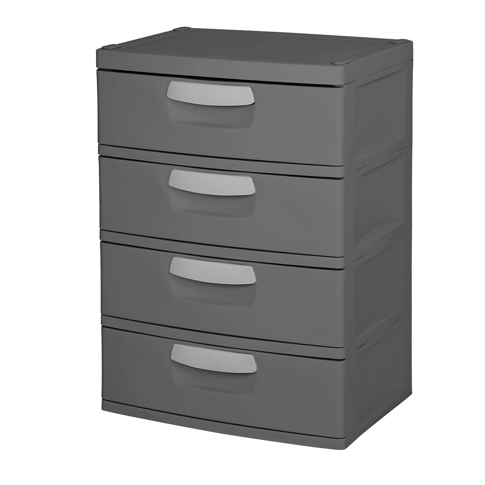 Image of Sterilite 4-Drawer Garage and Utility Storage Unit Gray