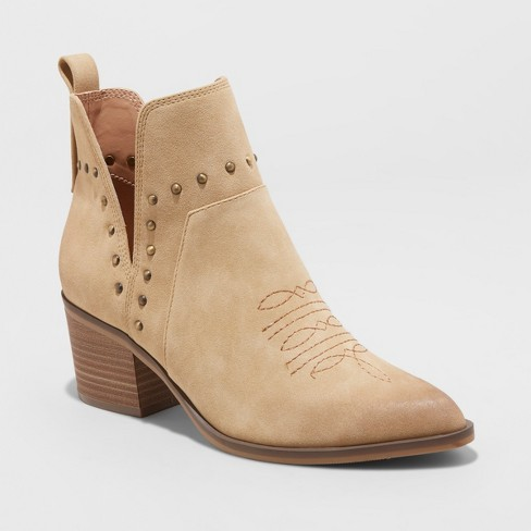 Women's Bedelia Western Studded Bootie - Universal Thread™ Tan - image 1 of 3