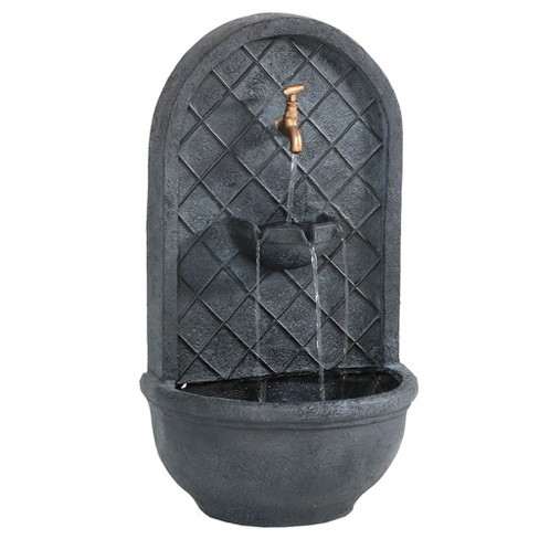 """26"""" Messina Outdoor Wall Water Fountain with Electric Submersible Pump - Lead - Sunnydaze Decor - image 1 of 4"""