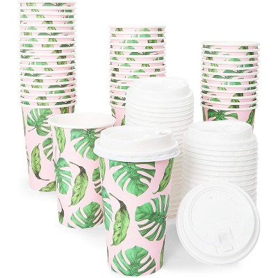 Blue Panda 48 Pack Insulated 16 oz Disposable Paper Coffee Cups with Lids, Tropical Palm Leaf Party Supplies