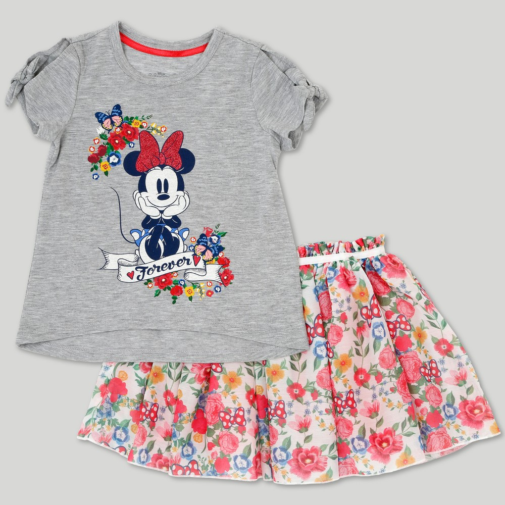 Toddler Girls' Disney Mickey Mouse & Friends Minnie Mouse Skirt Set - Gray 2T