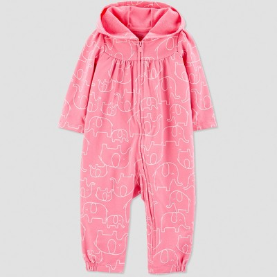 Baby Girls' 1pc French Terry Elephant Jumpsuit - Just One You® made by carter's Pink 12M
