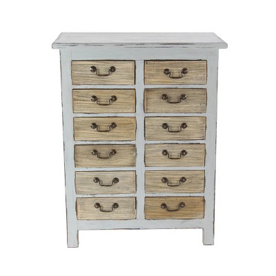 Rustic 12 Drawer Mahogany Chest Cabinet White - Olivia & May