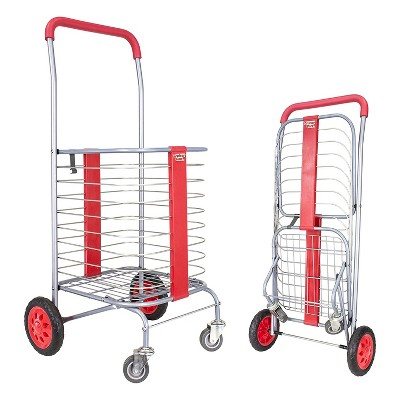 dbest products Steel Cruiser Cart 360 Foldable Lightweight Compact 4 Wheel Shopping Utility Trolley Laundry Basket and Rolling Storage Cart, Red