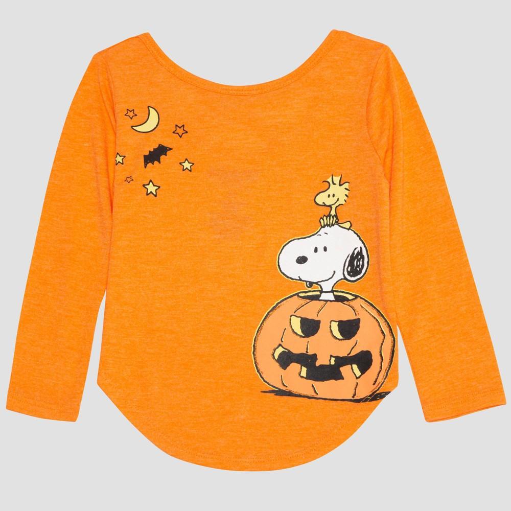 Toddler Girls' Peanuts Long Sleeve T-Shirt - Orange 2T
