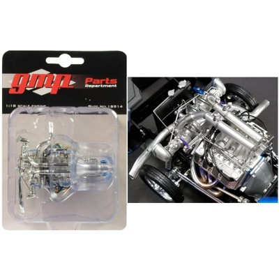 """Twin Turbo Boss 429 Drag Engine and Transmission Replica from """"1969 Ford Mustang Gasser """"The Boss"""" 1/18 Model by GMP"""