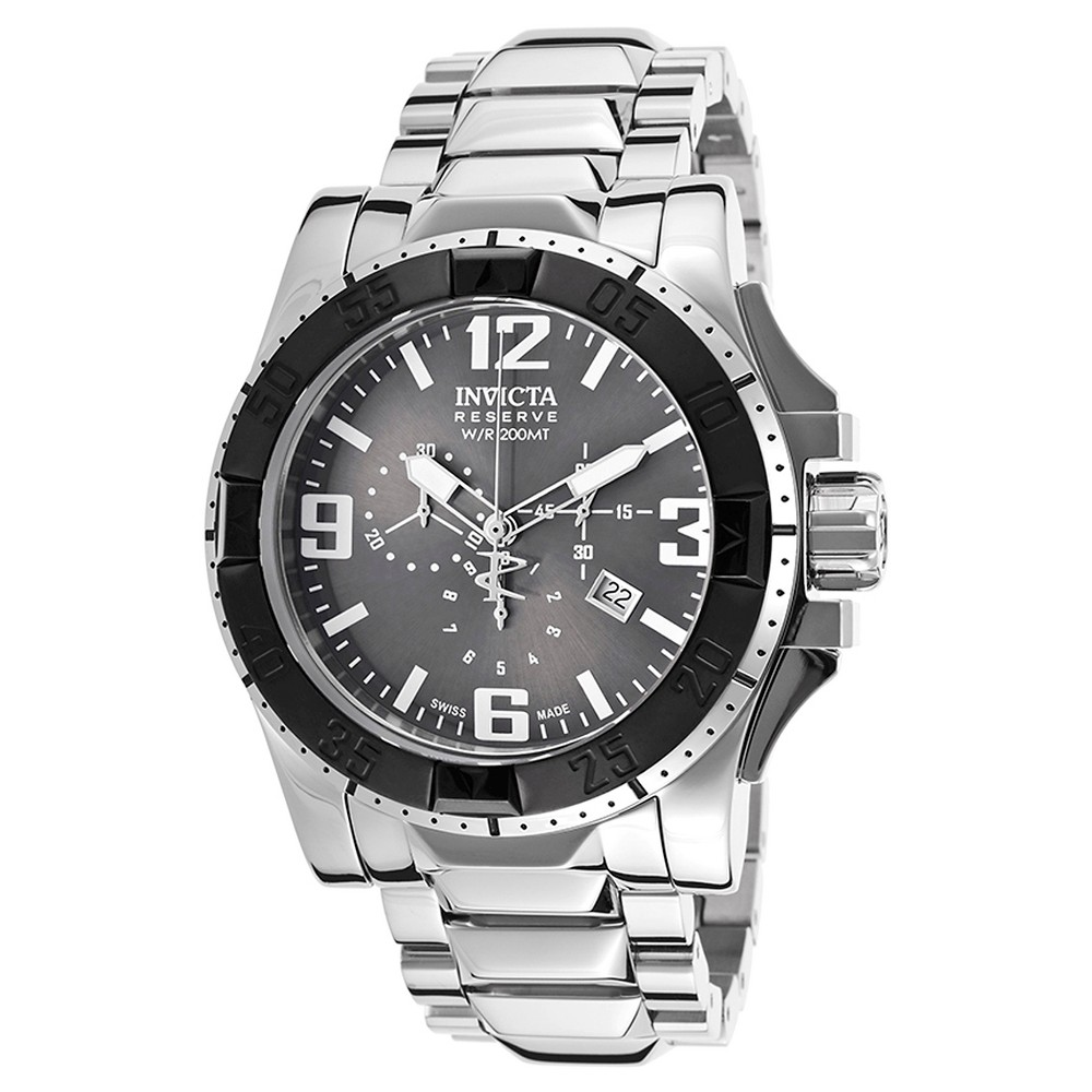 Men's Invicta 80608 Excursion Quartz Multifunction Gunmetal Dial Link Watch - Silver