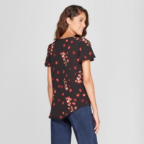 68c8db648eae0 Women s Floral Print Short Flutter Sleeve Blouse - A New Day™ Black ...