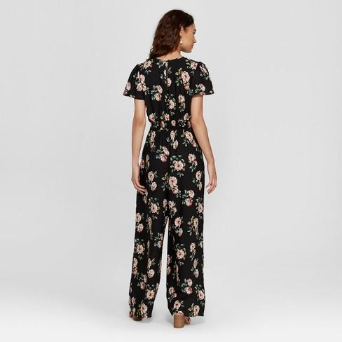 ff9004b925d6 Women s Short Sleeve Tie Front Floral Jumpsuit - Xhilaration™ Black XL    Target