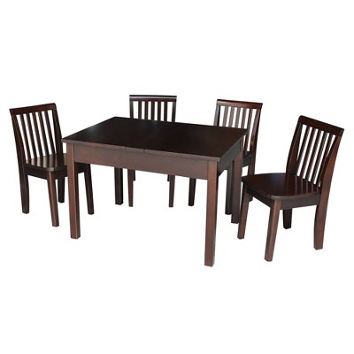 Kids' Table with 4 Mission Juvenile Chairs Rich Mocha - International Concepts