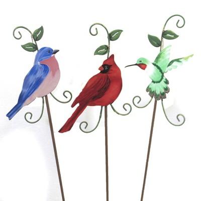 """Home & Garden 24.5"""" Bluebird Cardinal Hummingbird Stakes Round Top Collection  -  Decorative Garden Stakes"""