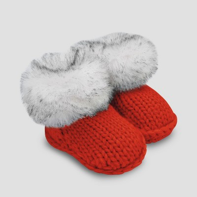 Baby Faux Fur Bootie Slippers - Cat & Jack™ Red 6-12M