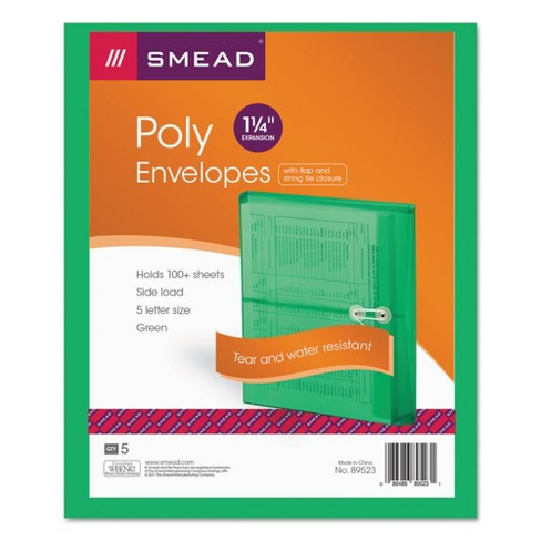 Smead Poly String & Button Booklet  File Folder Envelope, 9 3/4 x 11 5/8 x 1 1/4, Green, 5/Pack - image 1 of 2