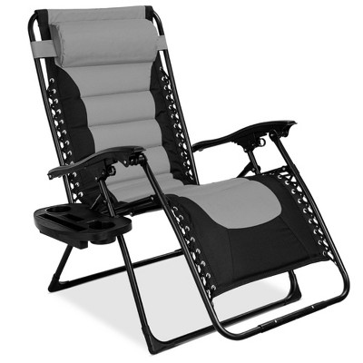 Best Choice Products Oversized Padded Zero Gravity Chair, Folding Outdoor Patio Recliner w/ Headrest, Side Tray