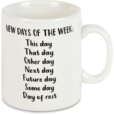Okuna Outpost White Ceramic Coffee Mug Tea Cup 15 Oz, New Days of The Week