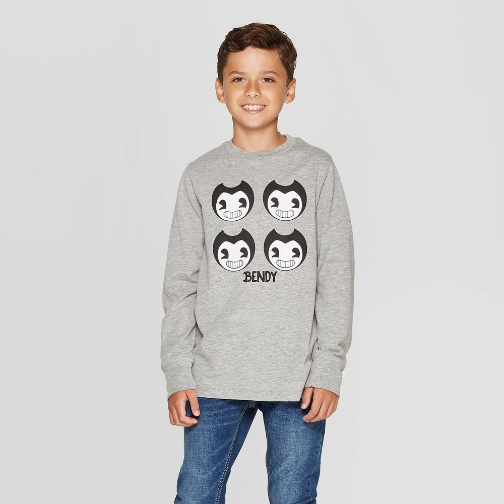 Image of Boys' Bendy and the Ink Machine T-Shirt - Gray L, Boy's, Size: Large
