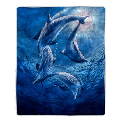Sherpa Fleece Throw Blanket- Ocean Dolphin Print Pattern, Lightweight Hypoallergenic Bed Couch Soft Plush Blanket for Adults and Kids by Hastings Home