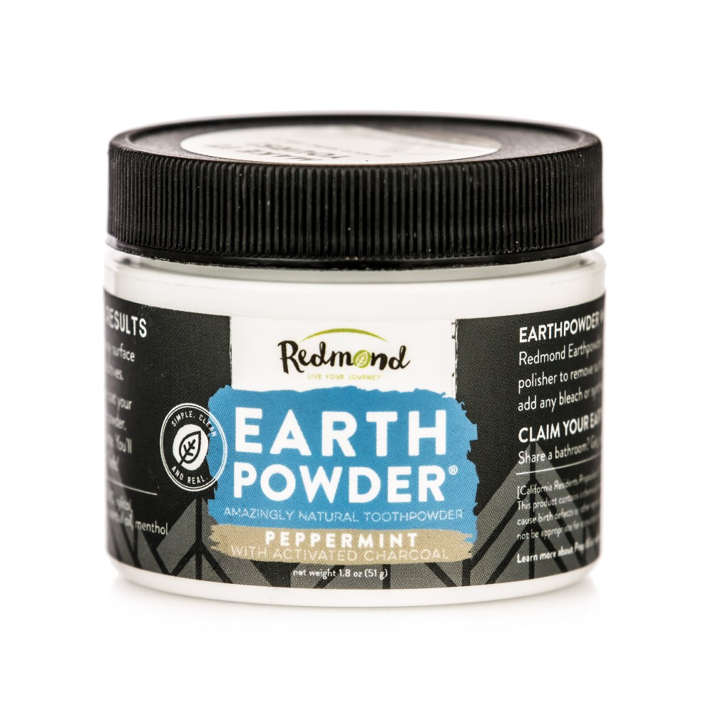 Image of Redmond Earthpowder Peppermint with Charcoal Toothpowder - 1.8oz