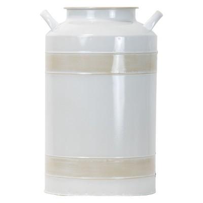 Antique White Metal Milk Jug Decorative Vase - Foreside Home & Garden