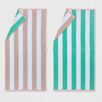 2pk Reversible Striped Beach Towel Set Mint/Pink - Sun Squad™