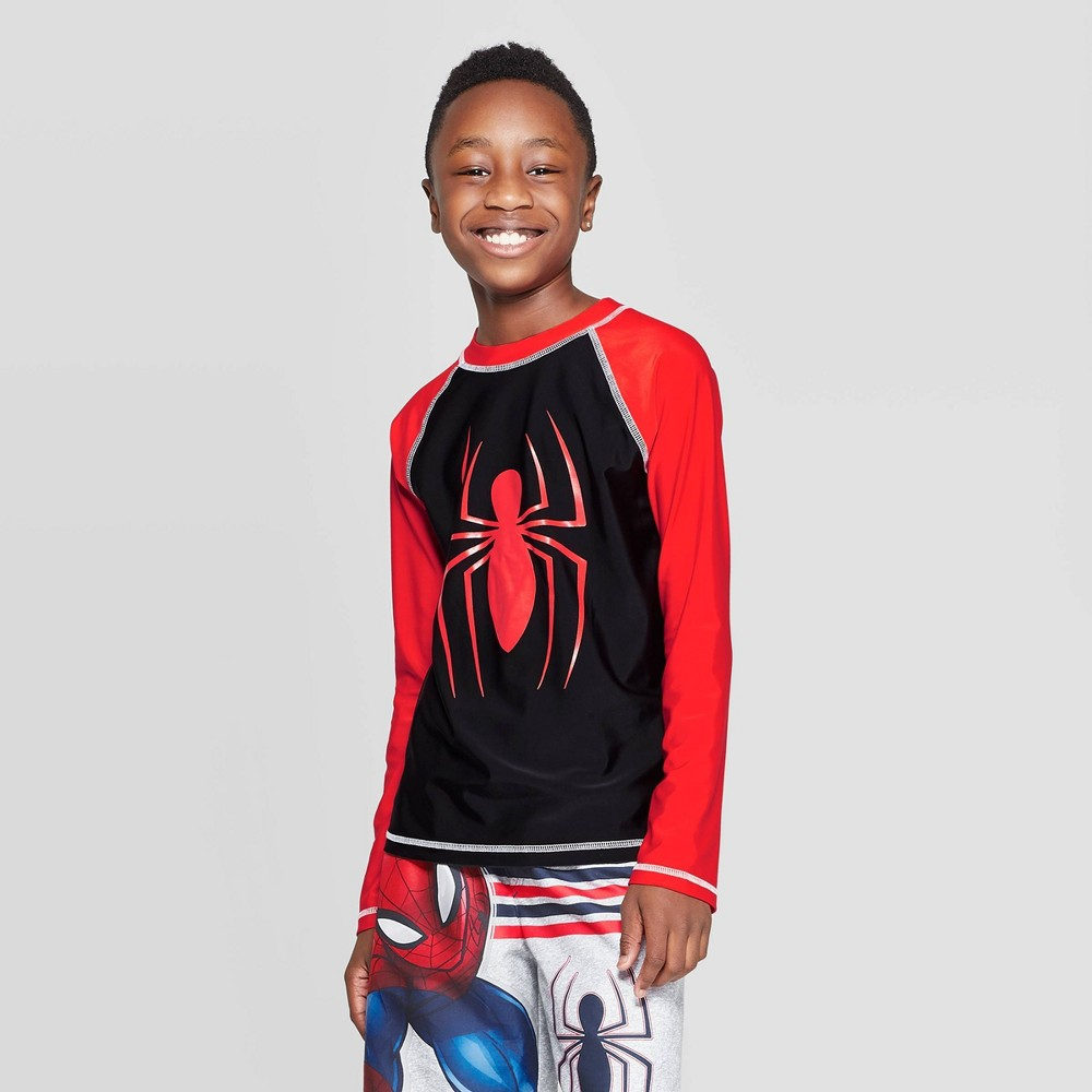 Image of Boys' Spider-Man Long Sleeve Rash Guard Swim Shirt - Red L, Boy's, Size: Large