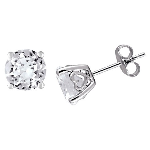 4 5 Ct T W Created White Shire Solitaire Earrings In Sterling Silver