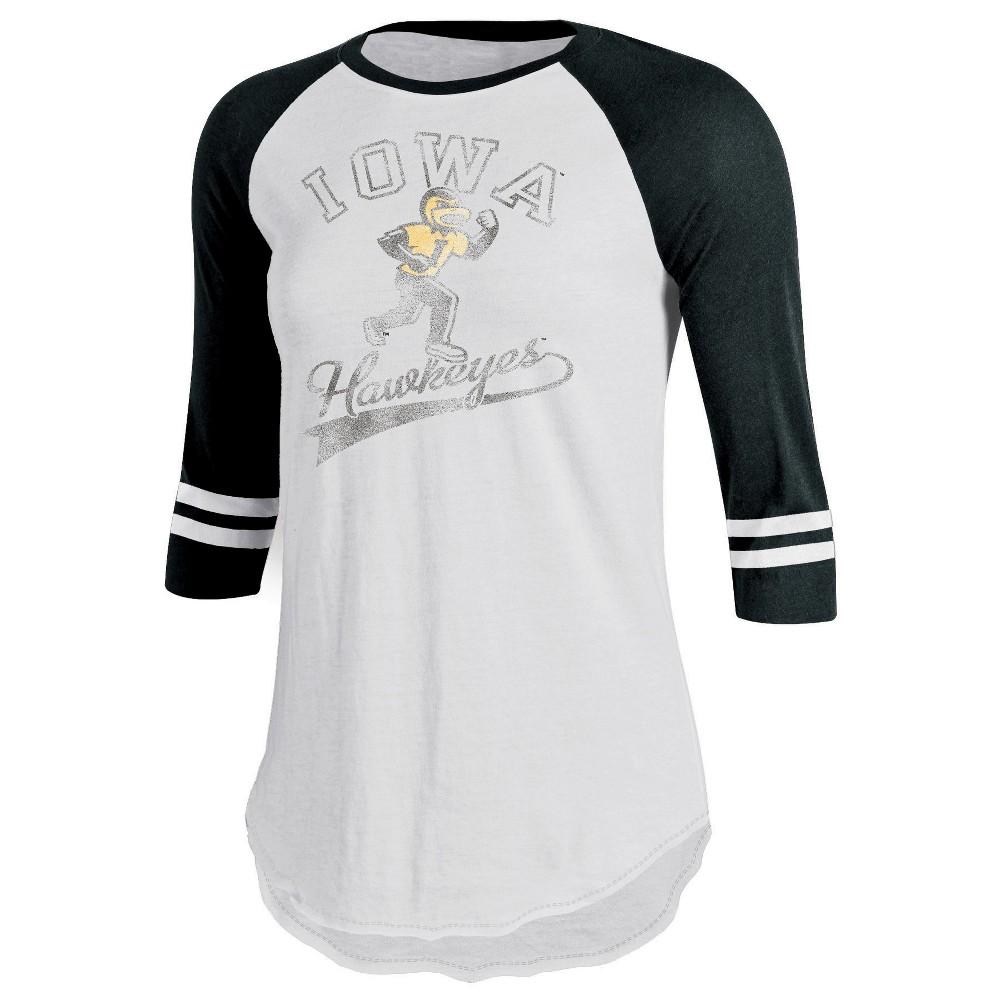 Iowa Hawkeyes Women's Retro Tailgate White/3/4 Sleeve T-Shirt S, Multicolored
