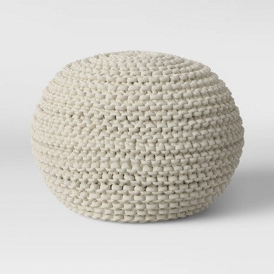 Cloverly Chunky Knit Pouf Cream - Threshold™