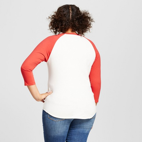 3371bcb21f0 Women s Plus Size Def Leppard 3 4 Sleeve Raglan Graphic T-Shirt - White Red    Target