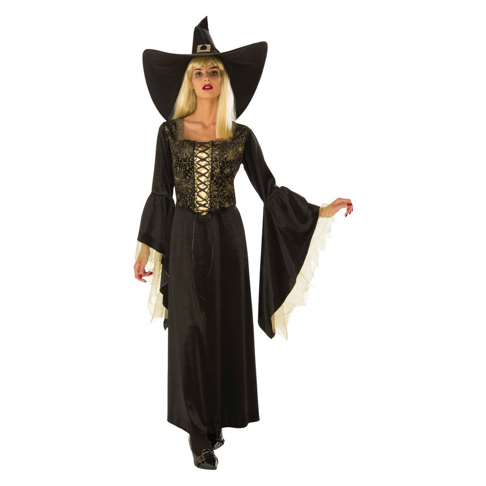 Image of Halloween Women's Golden Web Witch Halloween Costume M, Size: Medium, MultiColored