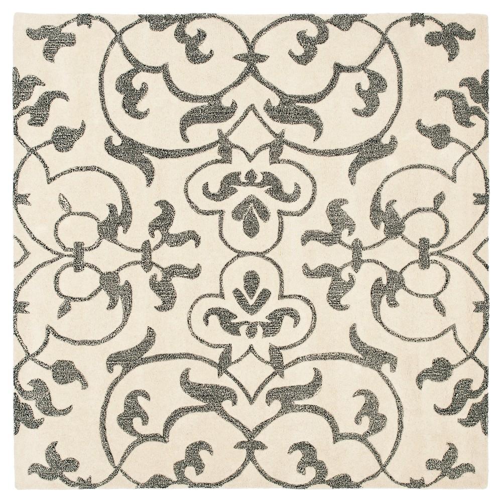Ivory/Gray Botanical Tufted Square Area Rug - (6'X6') - Safavieh
