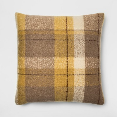 Faux Mohair Plaid Oversized Square Throw Pillow Gold - Threshold™