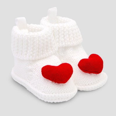 Baby Girls' Knitted Heart Slipper - Just One You® made by carter's Red/White Newborn