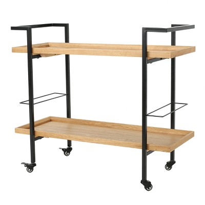 Gerard Industrial Wooden Bar Cart - Natural- Christopher Knight Home