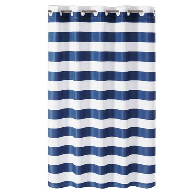 Cabana Stripe Shower Curtain with Liner Blue/White - Hookless