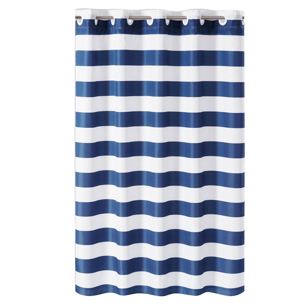 Image of Cabana Stripe Shower Curtain with Liner Blue/White - Hookless
