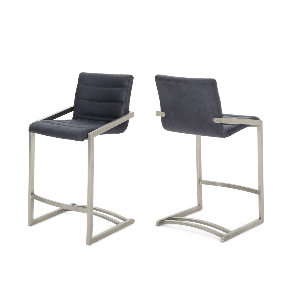 26 Arias Set of 2 Modern Microfiber Counterstool Navy Blue - Christopher Knight Home