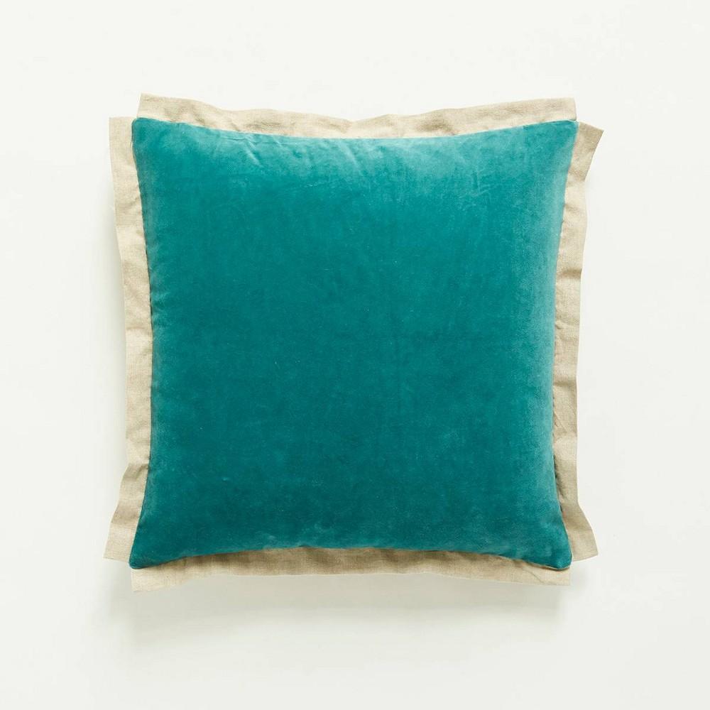 20 34 X20 34 Oversize Cotton Velvet Square Throw Pillow Teal Patina Vie