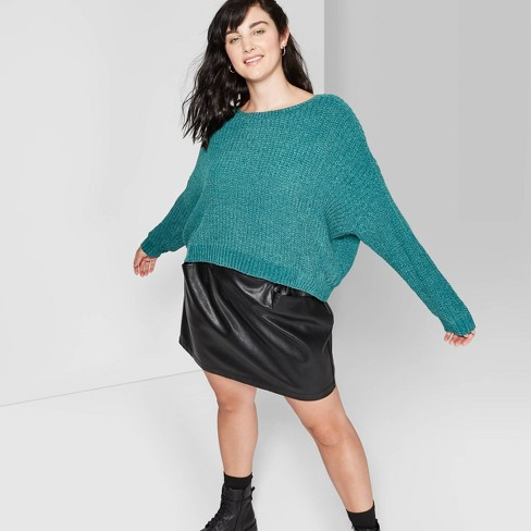 Women's Plus Size Long Sleeve Crewneck Cropped Cardigan - Wild Fable™ Zenith Teal - image 1 of 3