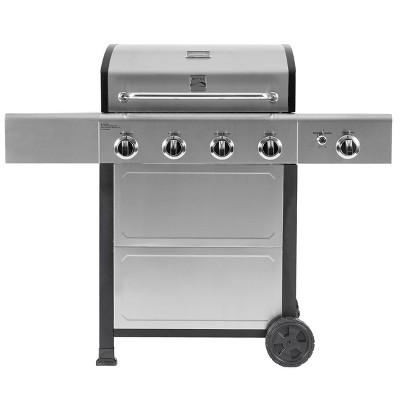 Kenmore 4-Burner Open Cart Grill with Side Burner 40406SOL-SE Stainless Steel/Black