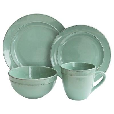 American Atelier Stoneware 16pc Dinnerware Set Aqua