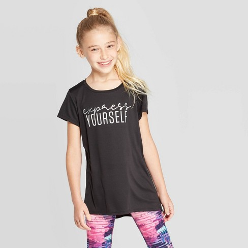 Girls' Express Yourself Graphic Tech T-Shirt - C9 Champion® Black - image 1 of 3