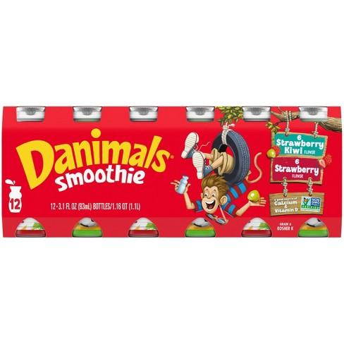 Dannon Danimals Strawberry Explosion and Strikin' Strawberry Kiwi Kids' Yogurt Smoothie Value Pack - 12pk/3.1oz - image 1 of 4