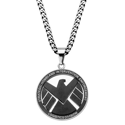 "Men's Marvel Agent of S.H.I.E.L.D Stainless Steel Engraved Logo Pendant with Chain (24"")"