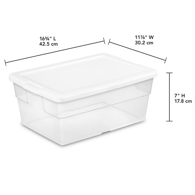 Sterilite 16 Qt Clear Storage Box White Lid : Target