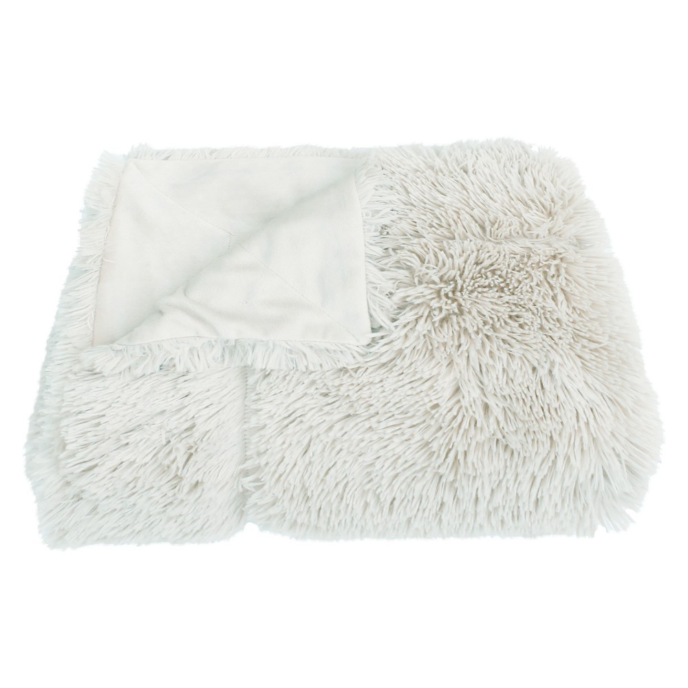 "Image of ""60""""x50"""" Chunky Faux Fur Throw Blanket White - Decor Therapy"""